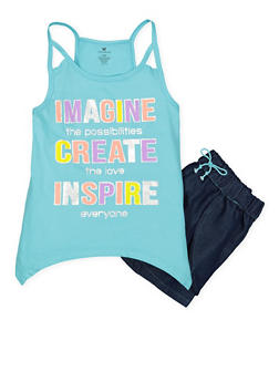 Girls 7-16 Graphic Tank Top with Denim Shorts - 1617061950093