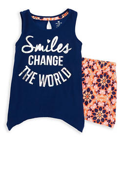 Girls 7-16 Soft Knit Graphic Tank Top and Shorts - 1617061950098
