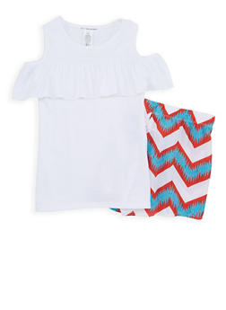 Girls 7-16 Cold Shoulder Top with Chevron Shorts - 1617061950104