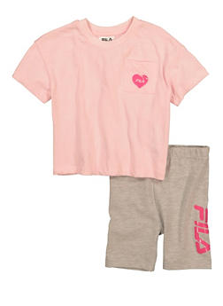 Girls Fila Heart Pocket Tee and Biker Shorts - 1617075650003