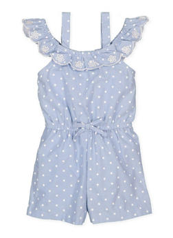 Girls 4-6x Embroidered Polka Dot Romper - 1618023260001