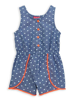 Girls 4-6x Heart Print Chambray Romper - 1618023260002