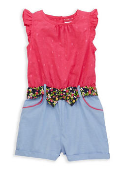 Girls 4-6x Decorative Stitch Chambray Romper - 1618023260003