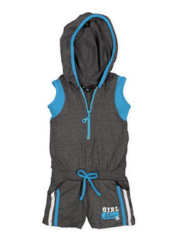 Girls 4-6x Girl Boss Graphic Hooded Romper - 1618038340048
