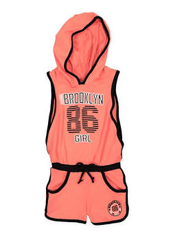 Girls 4-6x Brooklyn Graphic Hooded Romper - 1618038340056