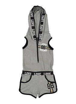 Girls 4-6x Love Graphic Hooded Romper - 1618038340058
