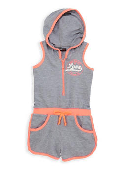 Girls 4-6x Love Graphic Hooded Romper - 1618038340059