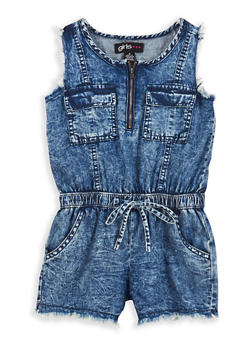 Girls 4-6x Frayed Denim Romper - 1618038340070
