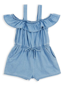 Girls 4-6x Ruffle Off the Shoulder Denim Romper - 1618038340075