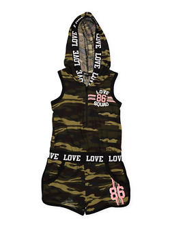 Girls 4-6x Camo Graphic Hooded Romper - 1618038340078