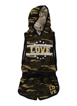 Girls 4-6x Love Graphic Camo Romper - 1618038340080