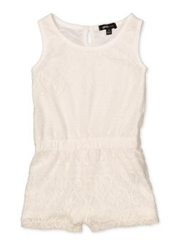 Girls 4-6x Lace Tank Romper - 1618038340095