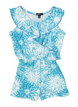 Girls 4-16 Ruffled Tie Dye Romper - 1618038340096