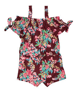 Girls 4-6x Off the Shoulder Floral Romper - 1618038340103