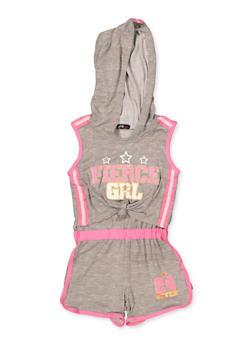 Girls 4-6x Fierce Grl Knot Front Hooded Romper - 1618038340111