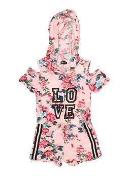 Girls 4-6x Hooded Love Floral Cold Shoulder Romper - 1618038340113