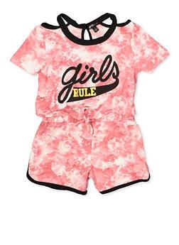 Girls 4-6x Girls Rule Tie Front Romper - 1618038340117