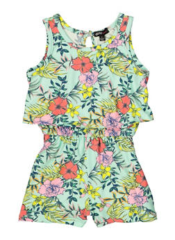 Girls 4-6x Floral Tank Overlay Romper - 1618038340121