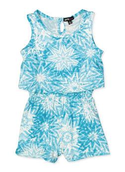 Girls 4-6x Tie Dye Overlay Romper - 1618038340122