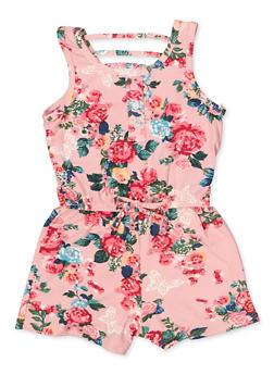Girls 4-6x Floral Caged Back Romper - 1618038340125