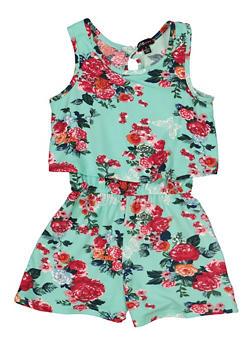 Girls 4-6x Soft Knit Overlay Romper - 1618038340126