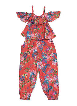 Girls 4-6x Floral Overlay Jumpsuit - 1618038340134