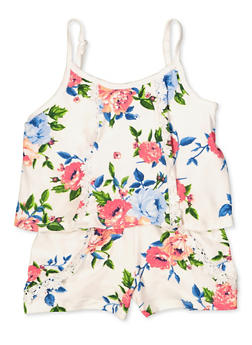 Girls 4-6x Floral Overlay Romper - 1618038340137