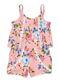 Girls 4-6x Floral Overlay Romper - 1618038340137