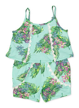 Girls 4-6x Tropical Floral Overlay Cami Romper - 1618038340138
