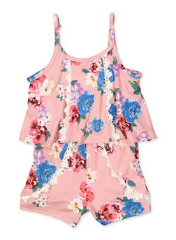 Girls 4-6x Floral Overlay Cami Romper - 1618038340139