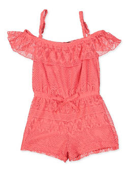 Girls 4-12 Lace Off the Shoulder Romper - 1618038340141