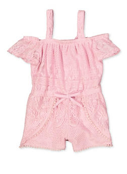 Girls 4-6x Lace Off the Shoulder Romper - 1618038340143
