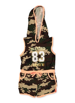 Girls 4-6x Blessed Camo Hooded Romper - 1618038340148