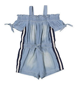 Girls 4-6x Striped Tape Denim Romper - 1618038340149