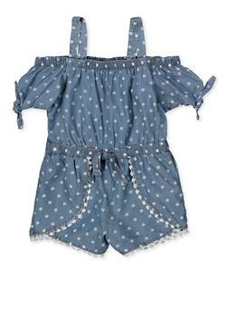 Girls 4-6x Polka Dot Crochet Trim Romper - 1618038340151