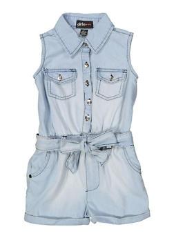 Girls 4-6x Half Button Denim Romper - 1618038340152