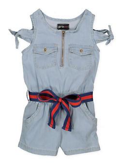 Girls 4-6x Belted Denim Romper - 1618038340153