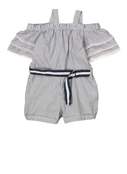 Girls 4-6x Off the Shoulder Striped Romper - 1618038340156