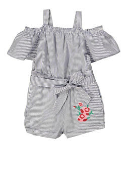 Girls 4-6x Striped Tiered Sleeve Romper - 1618038340157