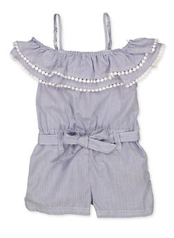 Girls 4-6x Striped Off the Shoulder Romper | 1618038340158 - 1618038340158