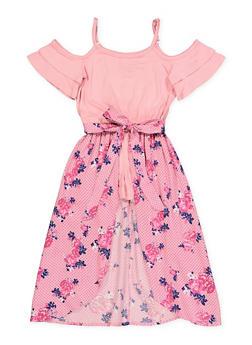 Girls 4-6x Floral Polka Dot Maxi Romper - 1618038340162