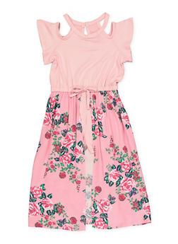 Girls 4-6x Floral Maxi Romper - 1618038340164