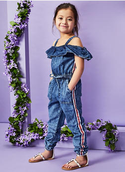 Girls 4-6x Striped Tape Denim Jumpsuit - 1618038340166