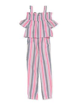 Girls 4-16 Smocked Trim Cold Shoulder Striped Jumpsuit - 1618038340184