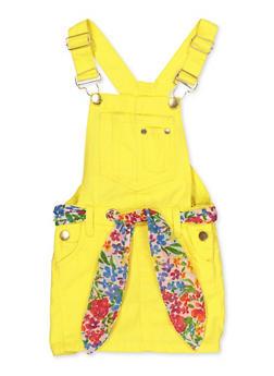 Girls 4-6x Tie Waist Twill Overall Dress - 1618038340195