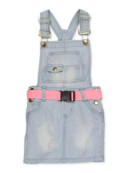 Girls 4-6x Buckle Belt Overall Dress - 1618038340202