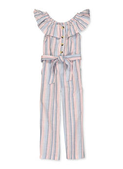 Girls 4-6x Striped Linen Belted Jumpsuit - 1618038340206
