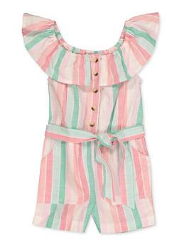 Girls 4-6x Striped Tie Waist Romper - 1618038340211