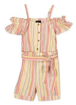 Girls 4-6x Striped Cold Shoulder Linen Romper - 1618038340214