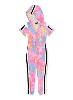Girls 4-6x Tye Die Hooded Zip Jumpsuit - 1618038340215